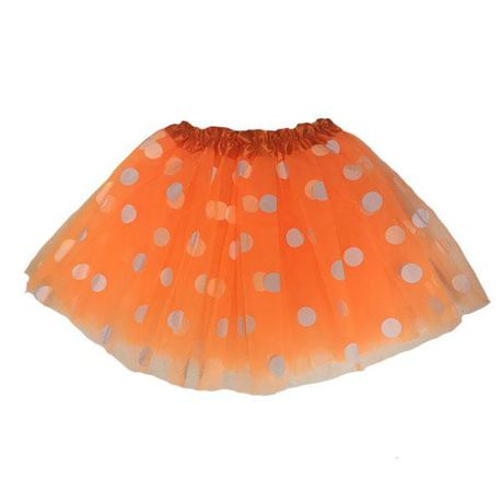 Adult lady tutu skirt - Bright Orange polka dot 40cm
