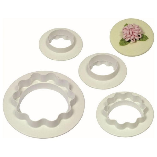 Round and wavy edge double sided cutter set, 4 piece