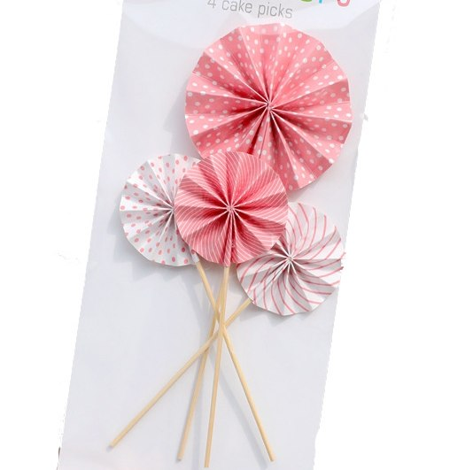 Paper fan cupcake topper stick