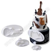 Music note and guitar fondant cupcake plunger set