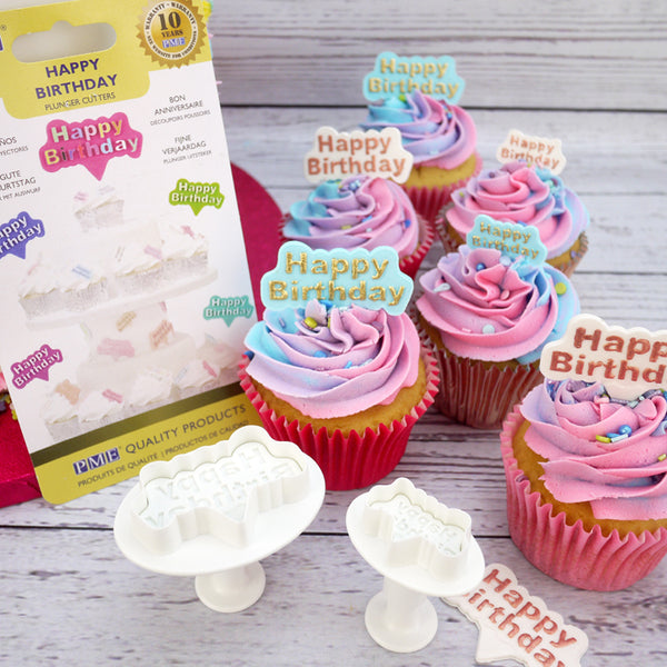 PME Happy Birthday plunger cutter, 5x3.5cm, 3x2cm