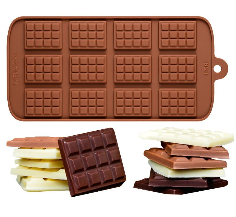 Mini Slab Chocolate Bar Chocolate truffle silicone mould, PP, size of one 3.7x2.7x0.5cm