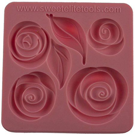 Rose and leaf silicone mould