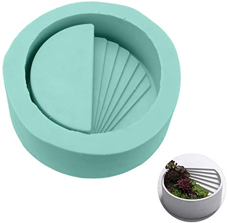 Planter Silicone Mould, Cement Pot 10.2x10.2cm,round with stairs