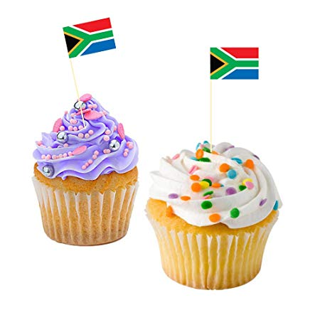 50pc South African Flag cupcake Toppers toothpicks