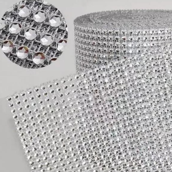 Silver Diamante roll for decor or cake decorating (decor items not included)