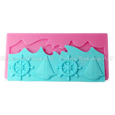 Nautical Fondant anchor ship and waves silicone mould, moulds size12x15cm