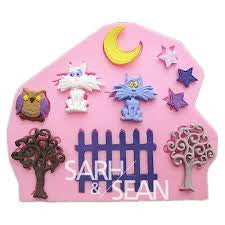 Fondant tree, moon, fence, moon and stars silicone mould, moulds size 9x10cm
