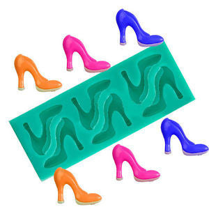 Silicone fondant mould high heel shoes, size of moulds 11x4cm