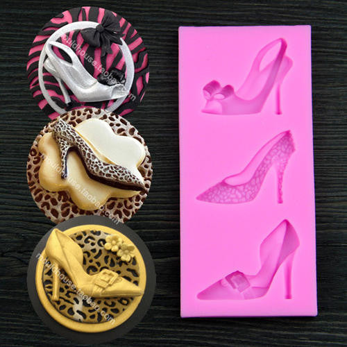 Silicone fondant mould high heel shoes, size of moulds 12.5x5.5cm