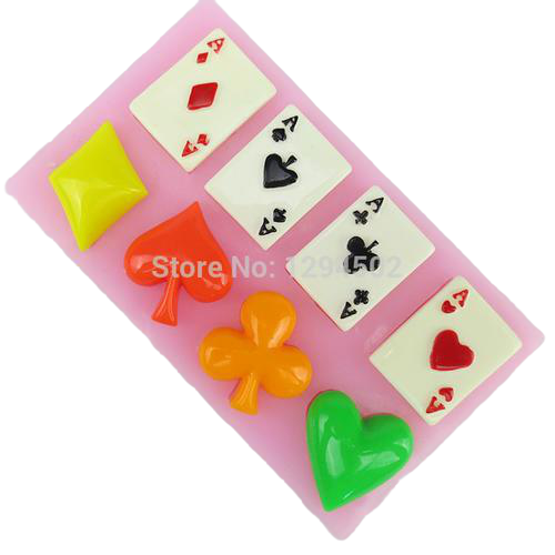 Poker cards silicone mould, for fondant, size of card 2x3cm casino