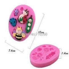 Ladybug, bee and worm silicone mould, for fondant, size of mould 10x7.5cm