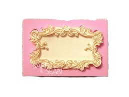 Classical frame plaque silicone mould, for fondant, 7x4.5cm