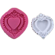 Heart valentine Border silicone mould, for fondant, size of mould 8x8.5cm