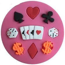 Poker set silicone mould, for fondant, size of mould 9.5cm