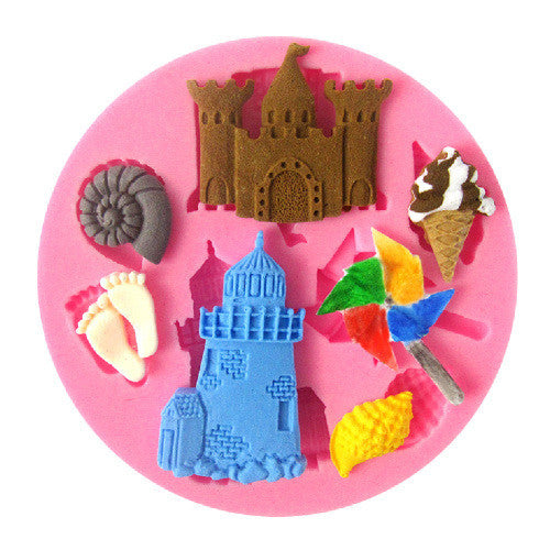 Castle beach silicone mould, fondant, size of mould 7cm