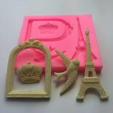 Fondant silicone, Frame, crown, bird, Eiffel tower size of moulds 8.5x10.5cm