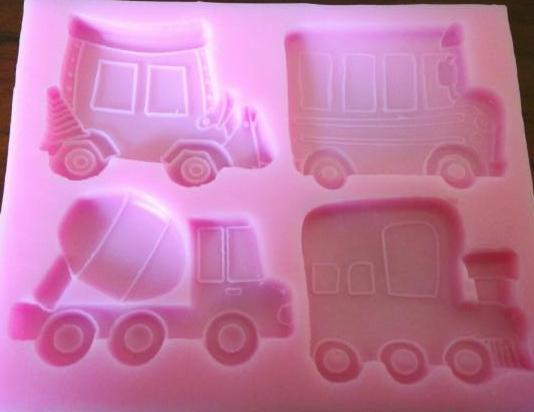 Bus, train, cement mixer fondant construction silicone mould, size of mould 10.5x8.5cm