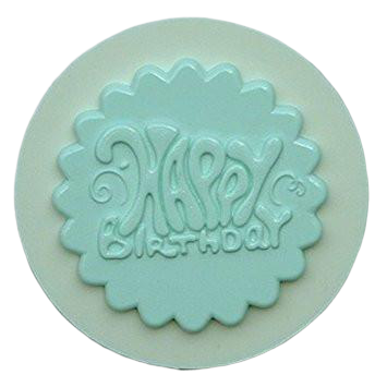 Happy Birthday Silicone fondant / sugar paste mould, 5.5cm
