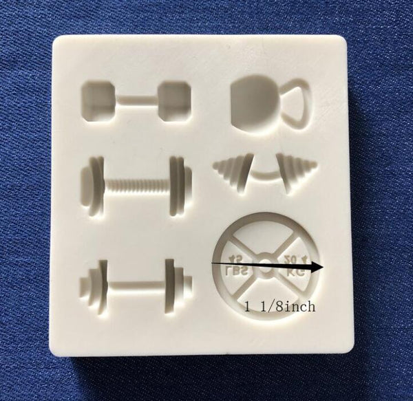 Small gym silicone mould, Dumbbell 2x1.5cm, Round weight 3cm