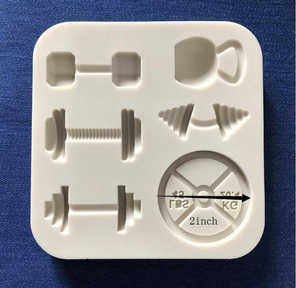 Large gym silicone mould, Dumbbell 3.5x2.5cm, Round weight 4.5cm