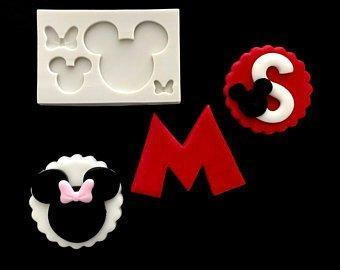 Minnie  mickey mouse face and bow silicone mould, 4.7x4cm, 2.4x2cm