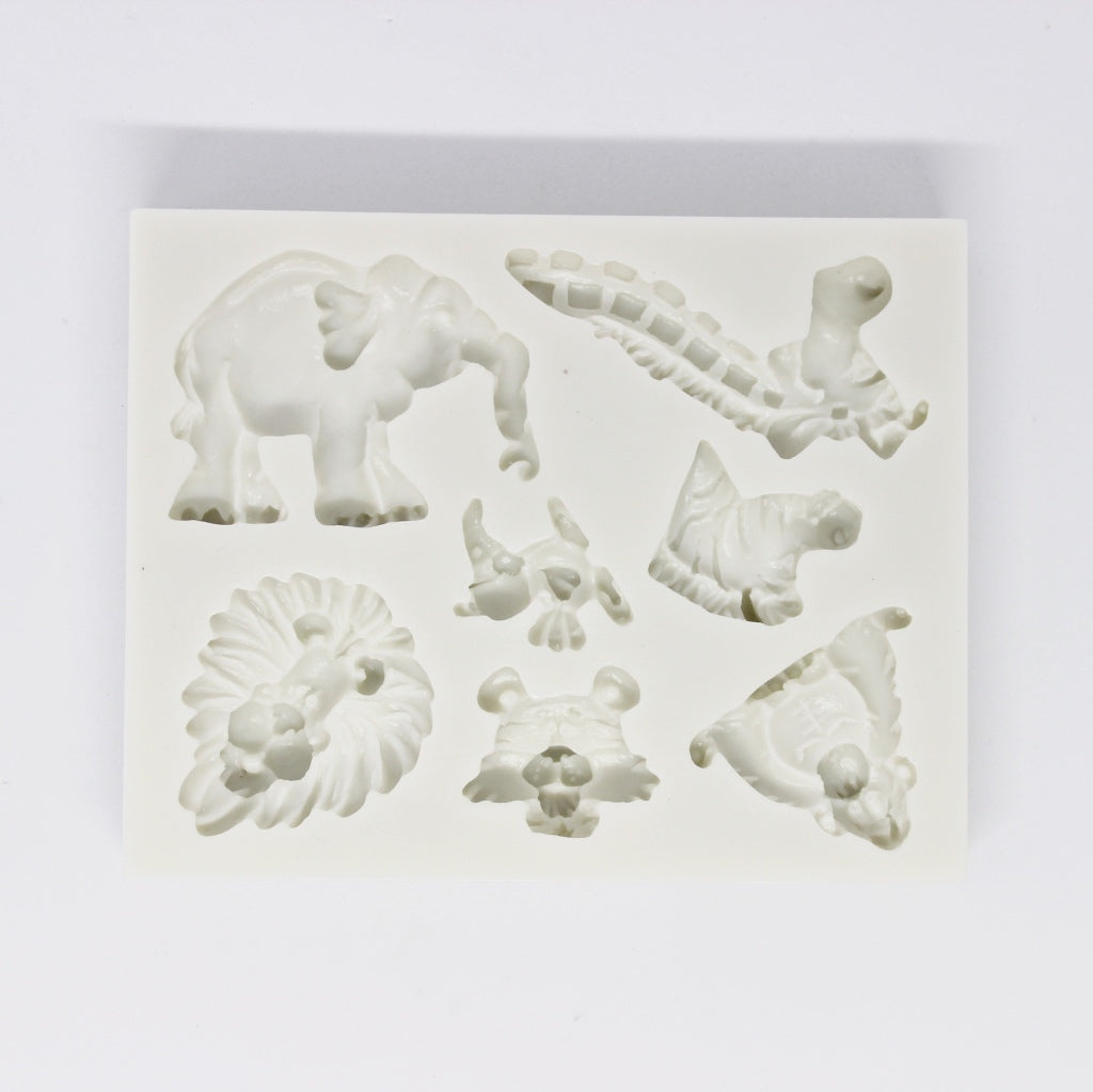 Wild Safari animals silicone mould, elephant 5x4cm