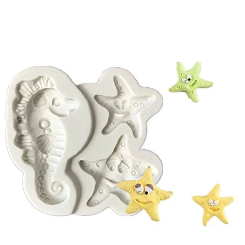 Seahorse and starfish under the sea silicone mould, seahorse 6.4x3.1cm