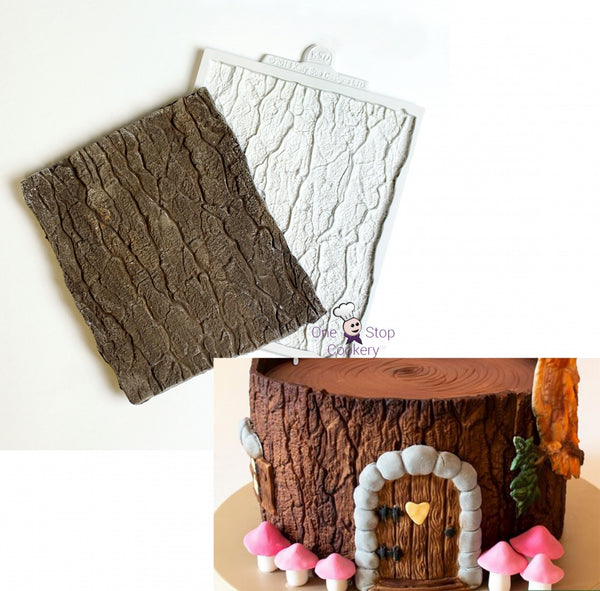 Wood tree bark silicone impression mat, 12x14.3cm