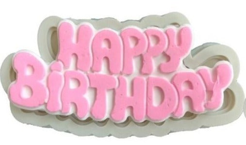 Happy Birthday Silicone fondant mould, 11x4.5cm