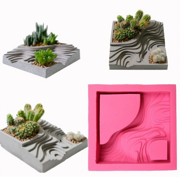 Planter Silicone Mould, Cement Pot squar stairs