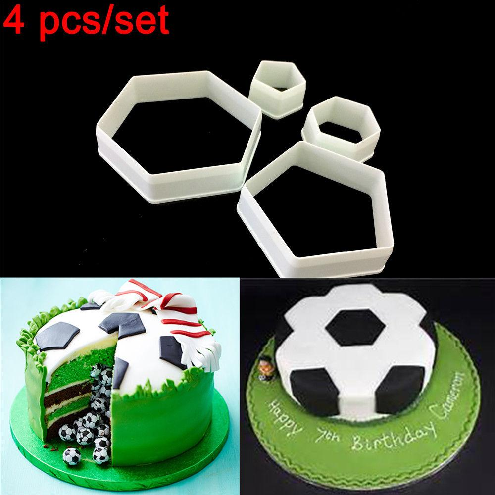 Hexagon shape  soccer Plastic cookie cutter, 4piece