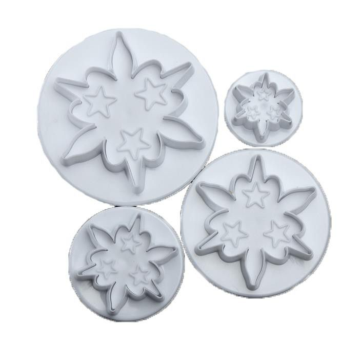 Flower star plunger cutter set, 7cm, 5.5cm, 4.5cm, 2.7cm