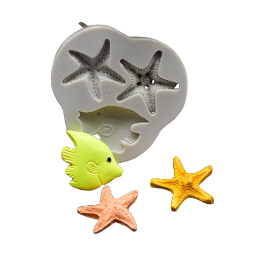 Starfish and fish silicone mould, fish 4.3x3.5cm