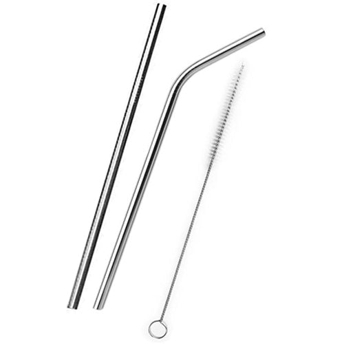 Metal straw, 2 per pack with cleaning brush