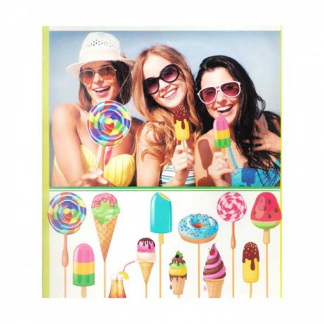 Ice cream party Photo props on sticks, 12 piece