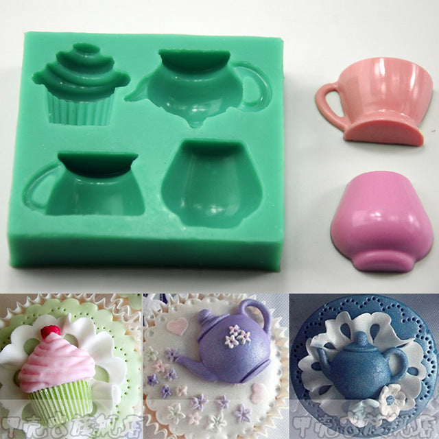 Cupcake and teapot silicone mould, cupcake 2.5x2.5cm, teapot 4x2.5cm