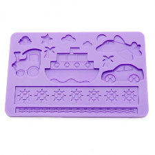 Silicone fondant / sugar paste mould, Transport Train, plane, car, boat, mould size 18x12cm
