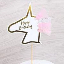 Gold and Pink Happy Birthday Unicorn cake topper