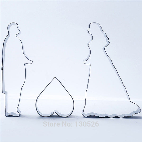 Wedding couple silhouette cookie cutter set