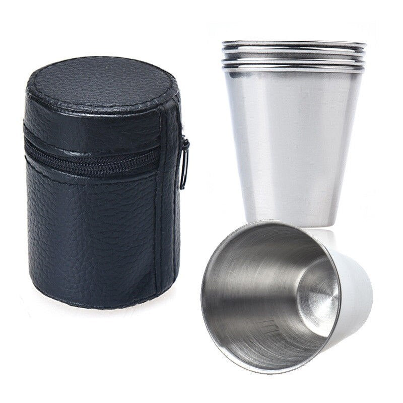 4 Stainless steel shooter glasses in faux leather bag