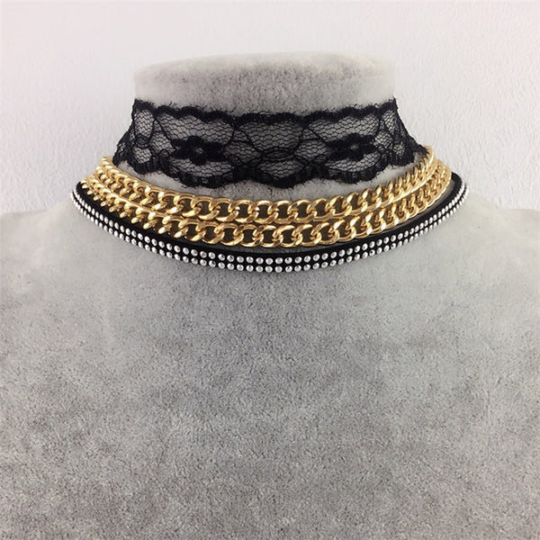 3 Piece Lace and Gold Choker