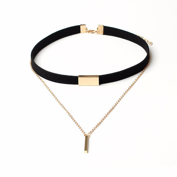 Black/Coffee Gold Plated Choker