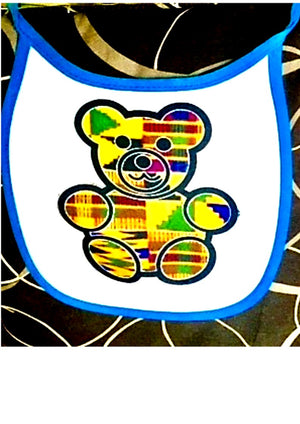 Kente baby bib blue
