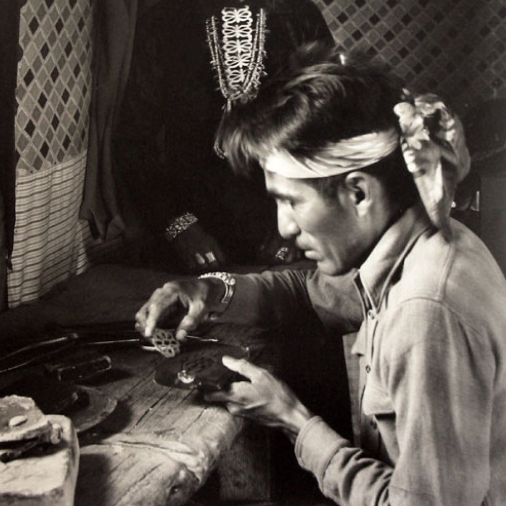 Navajo silversmith at work