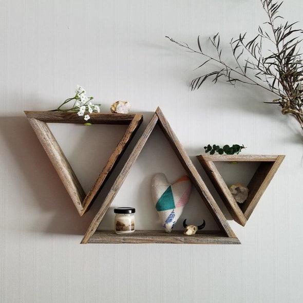 3 Pallet Wood Triangle Shelves