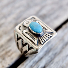 Mens Turquoise Thunderbird Ring Size 10 Vintage