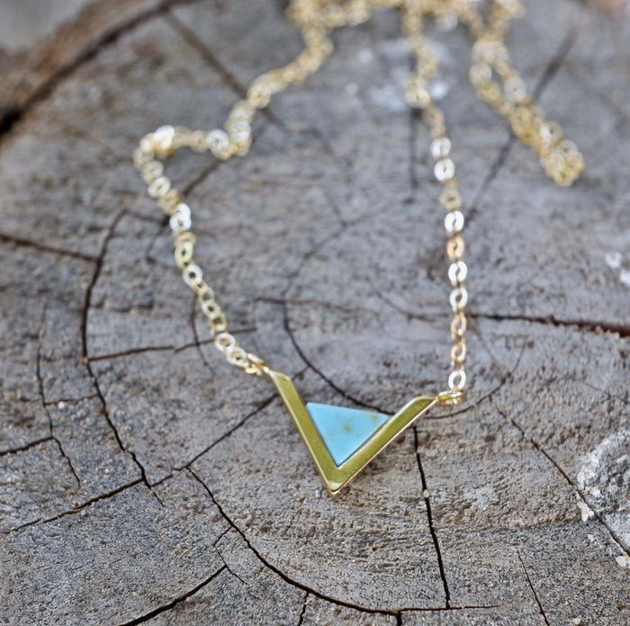 Tiny Turquoise Triangle Necklace Gold Filled Charm 14K chain
