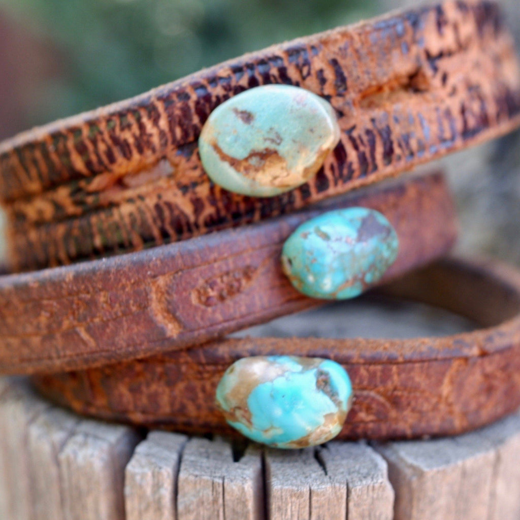 Recycled Leather & Turquoise Cuff
