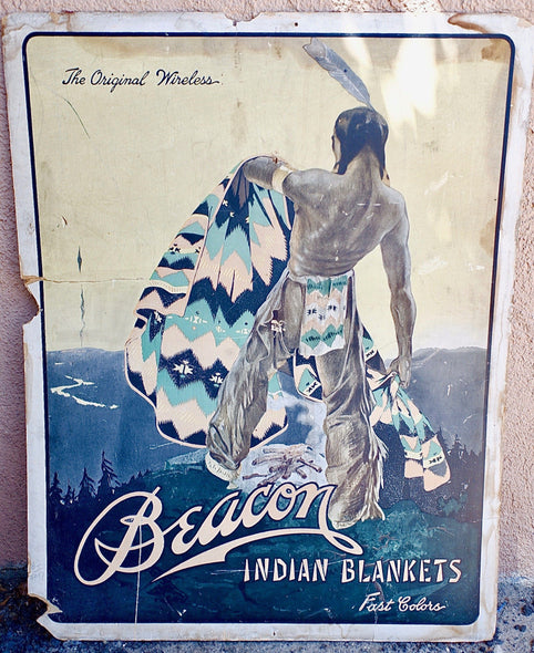 Vintage Beacon Indian Blanket Advertising Store Display Sign 1930's